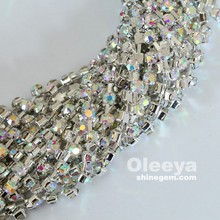 factory far mat silver plating trimming crystal AB rhinestone sew on cup chain for women dresses