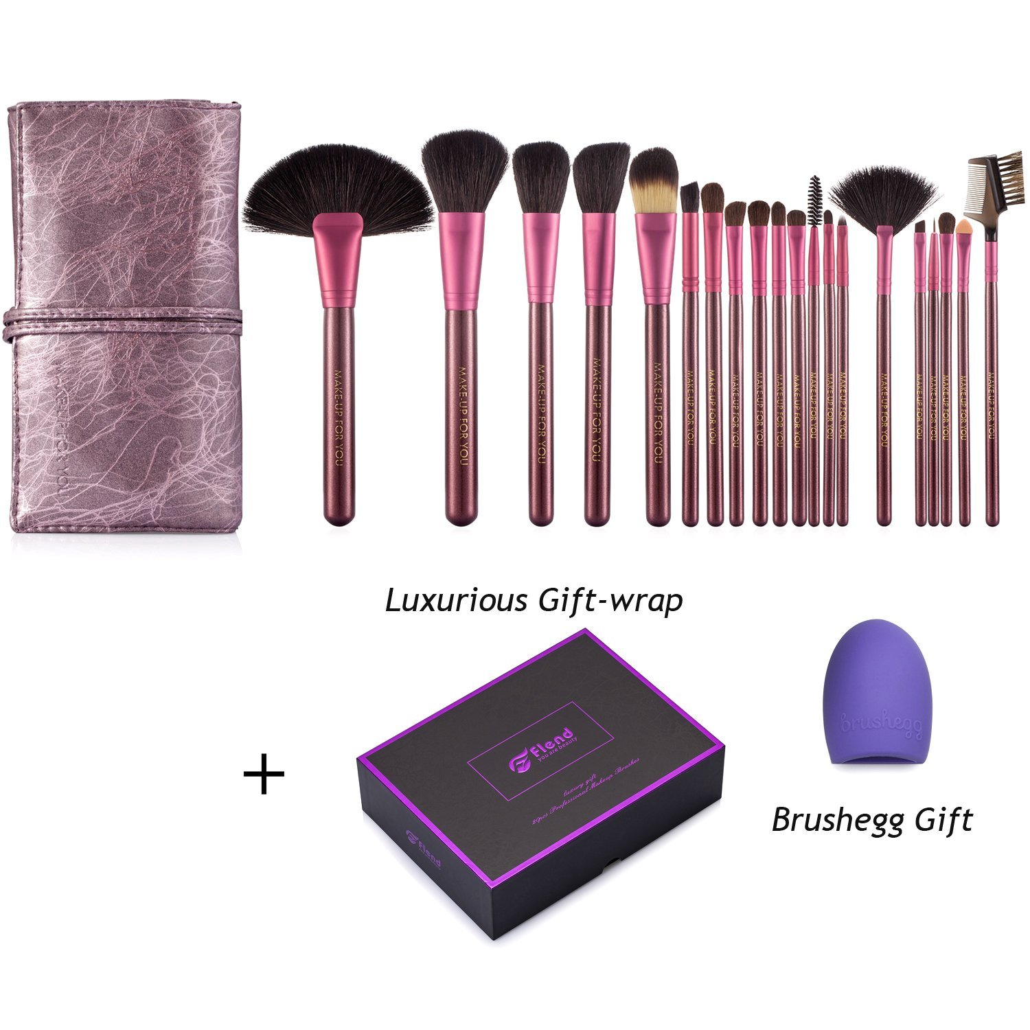 20 pcs Brush Set made of Soft Goat Hair Pony Hair | Flend Professional Makeup Brushes with PU Leather Roll Pouch (Purple)