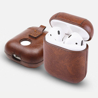 Oem Custom Strap Hook Anti Lost Earphone Charging Pouch High Quality Pu Leather Protective Case For Apple Airpods Case