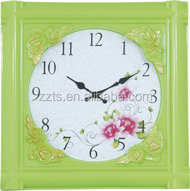 European style fashion design plastic square wall clock with flower frame for decorative