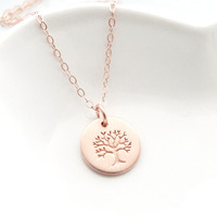 Round plate 20mm rose gold plated engraved tree pendant with chain