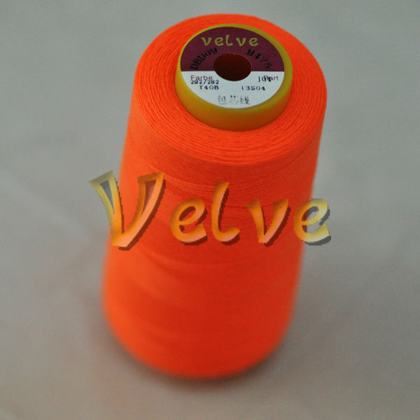 Red color poly poly core spun sewing thread for leather fabric