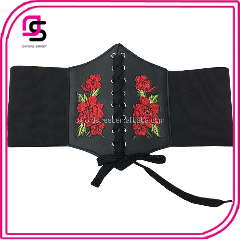 Red Floral Embroidery Stretched Wide PU Leather Corset Belt From China Yiwu Supplier