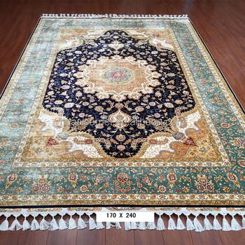 Dark Blue Handmade Rugs Used Persian Silk Carpet Rugs For Living ...