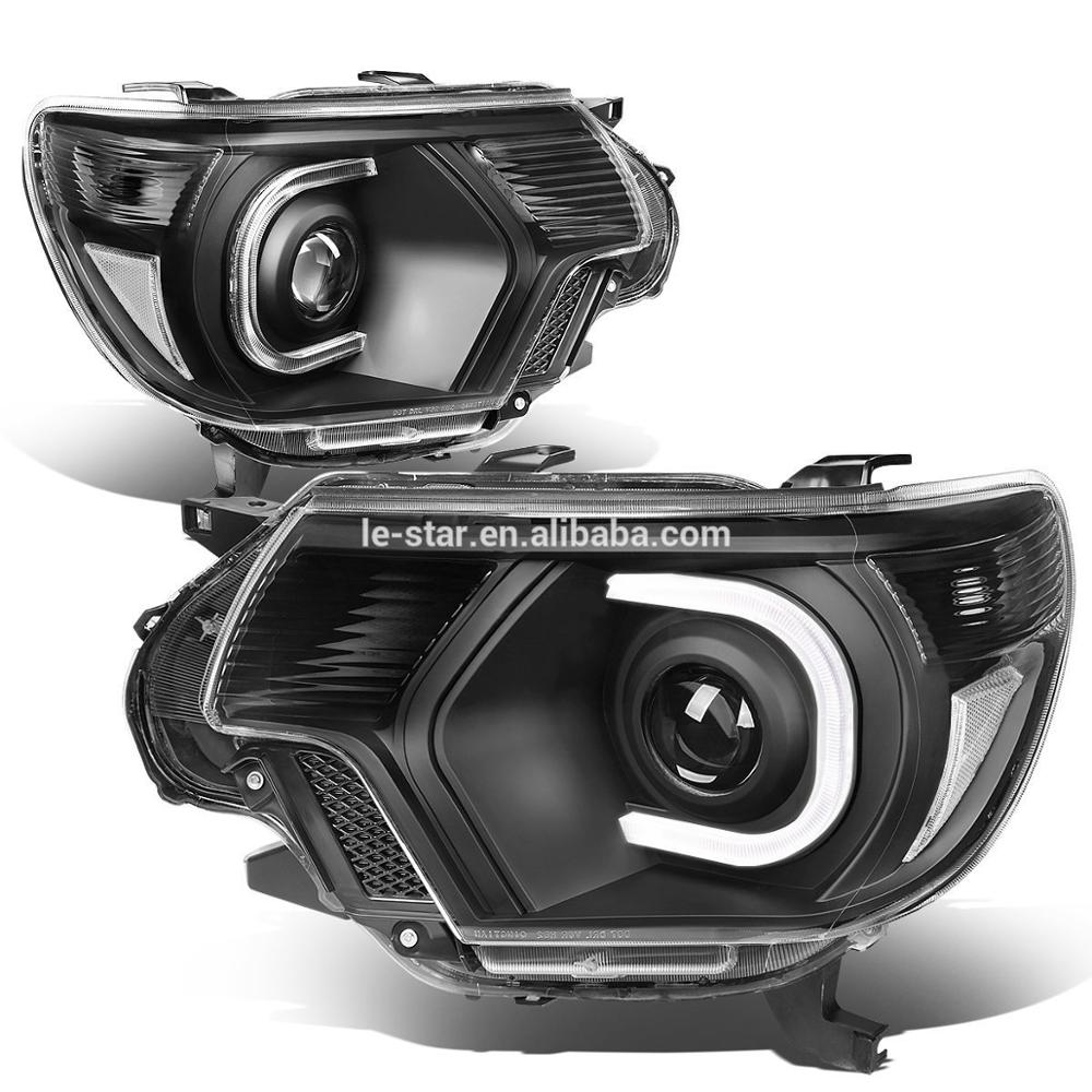 LE-STAR 4X4 Pair of Black Housing Clear Corner 3D LED DRL Projector Headlight Lamp For Tacoma