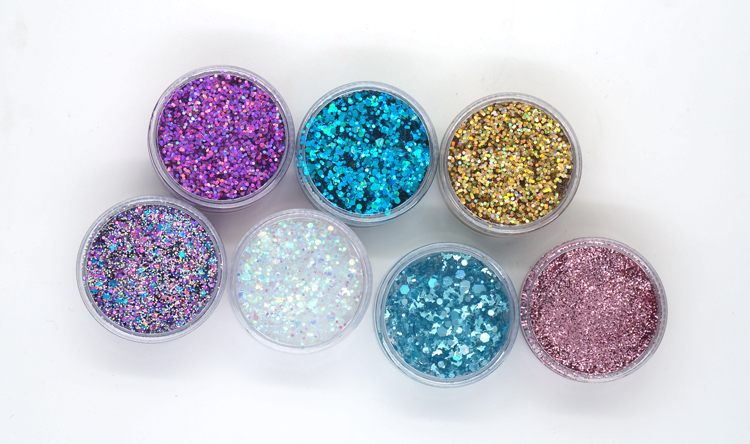 Safe Star Moon Shapes Glitter Hair Gel With Brush