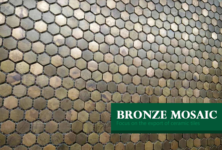 china house decoration shing brushed bathroom metal mosaic tiles home decor hexagon bronze metal mesh-mounted mosaic tile