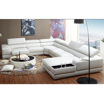 New Italian Style Modern U Shaped White Leather Extra Large Sectional Sofa  Design