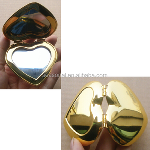 Gold mirror plane heart-shaped double sided pocket mirror outdoor makeup mirror