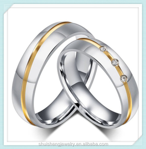 Couple two tone design stone paved stainless steel fashion couple pair wedding ring