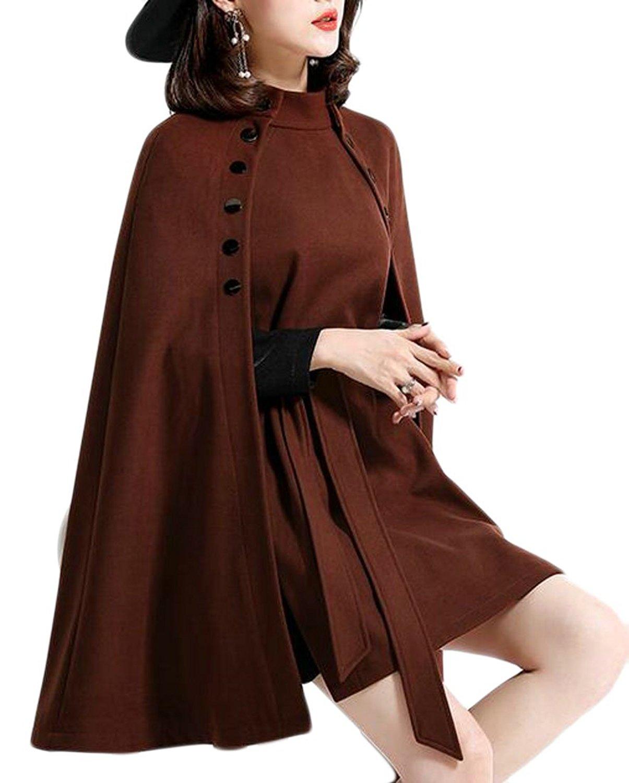 GenericWomen Generic Womens Solid Elegant Mock Neck Wool Blend Jacket Poncho Shawl