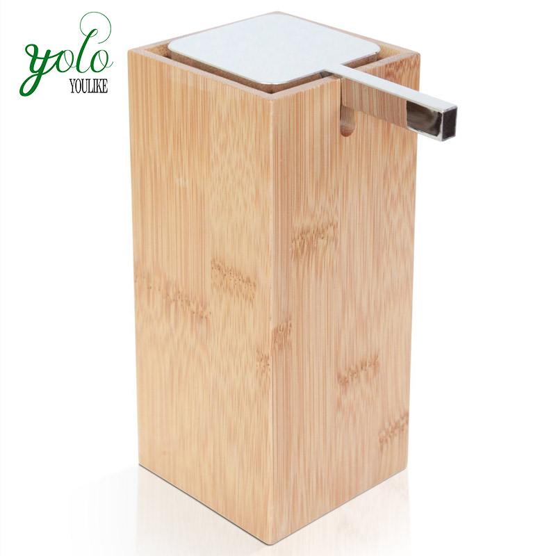 Bath Lotion Bamboo Soap Dispenser with Stainless steel Pump