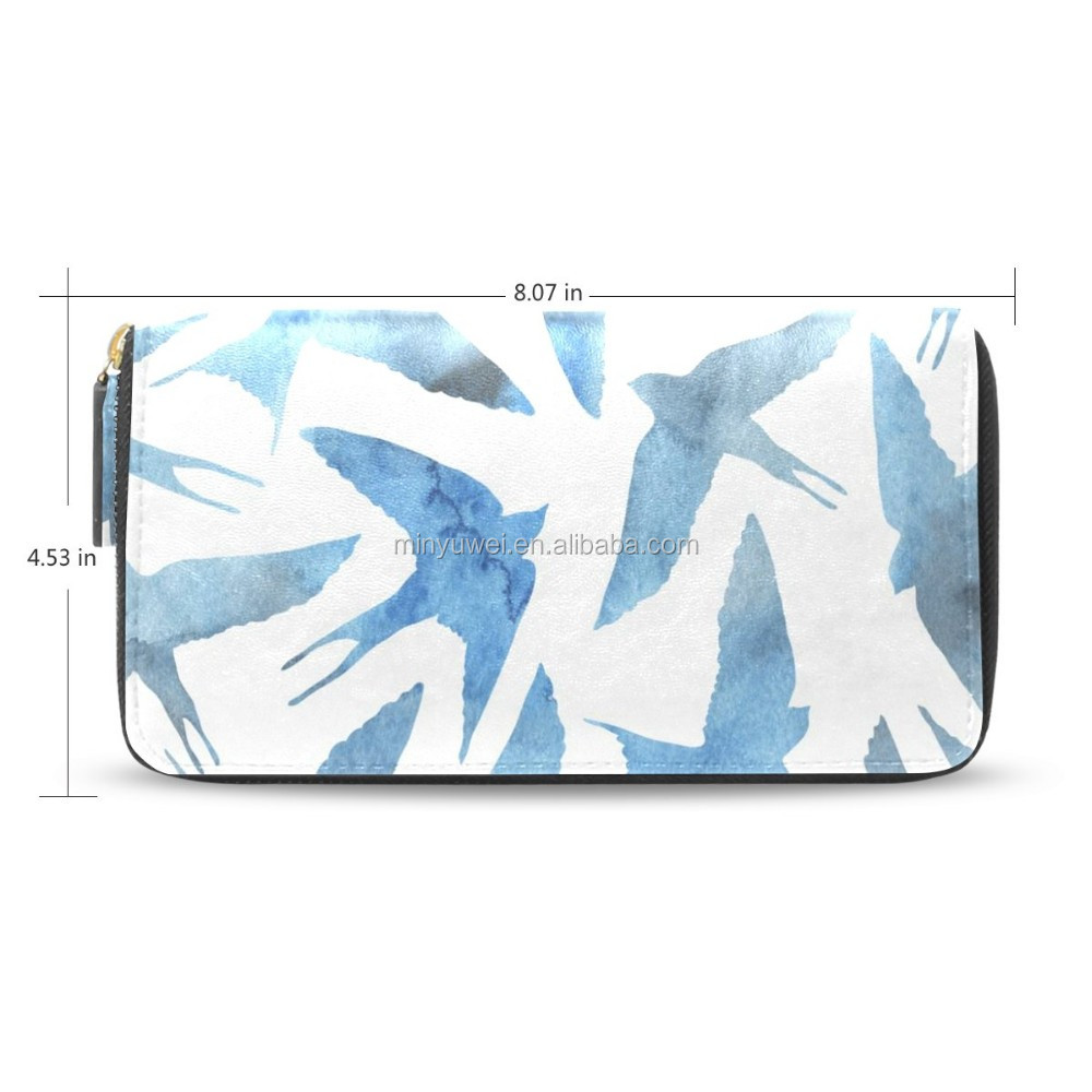 Custom color printing cover leather zipper wallet leather wallet purse