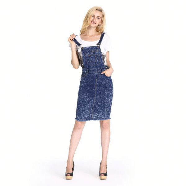 Factory Price Best Quality Pretty Denim And Lace Dress
