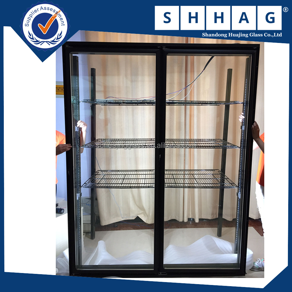double/triple-door glass doors commercial double display case Electric Heated Display Fridge glass door