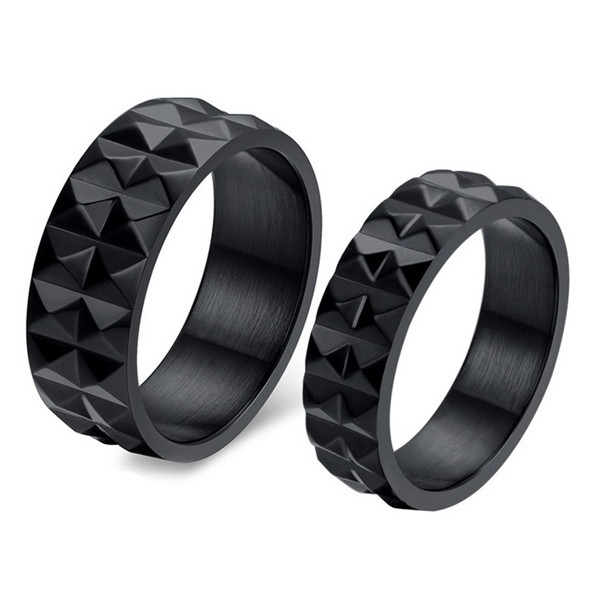 2Pcs Pair Engagement Wedding Rings Band Black Tungsten Stainless Steel Couples Ring Set for Men and Women Vintage Jewelry NEW
