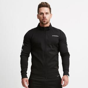 2019 New Fitness Muscle Sleeve Men Coat Pull Print Slim Sweater Training Sports Stand Collar Fitness Jacket Male