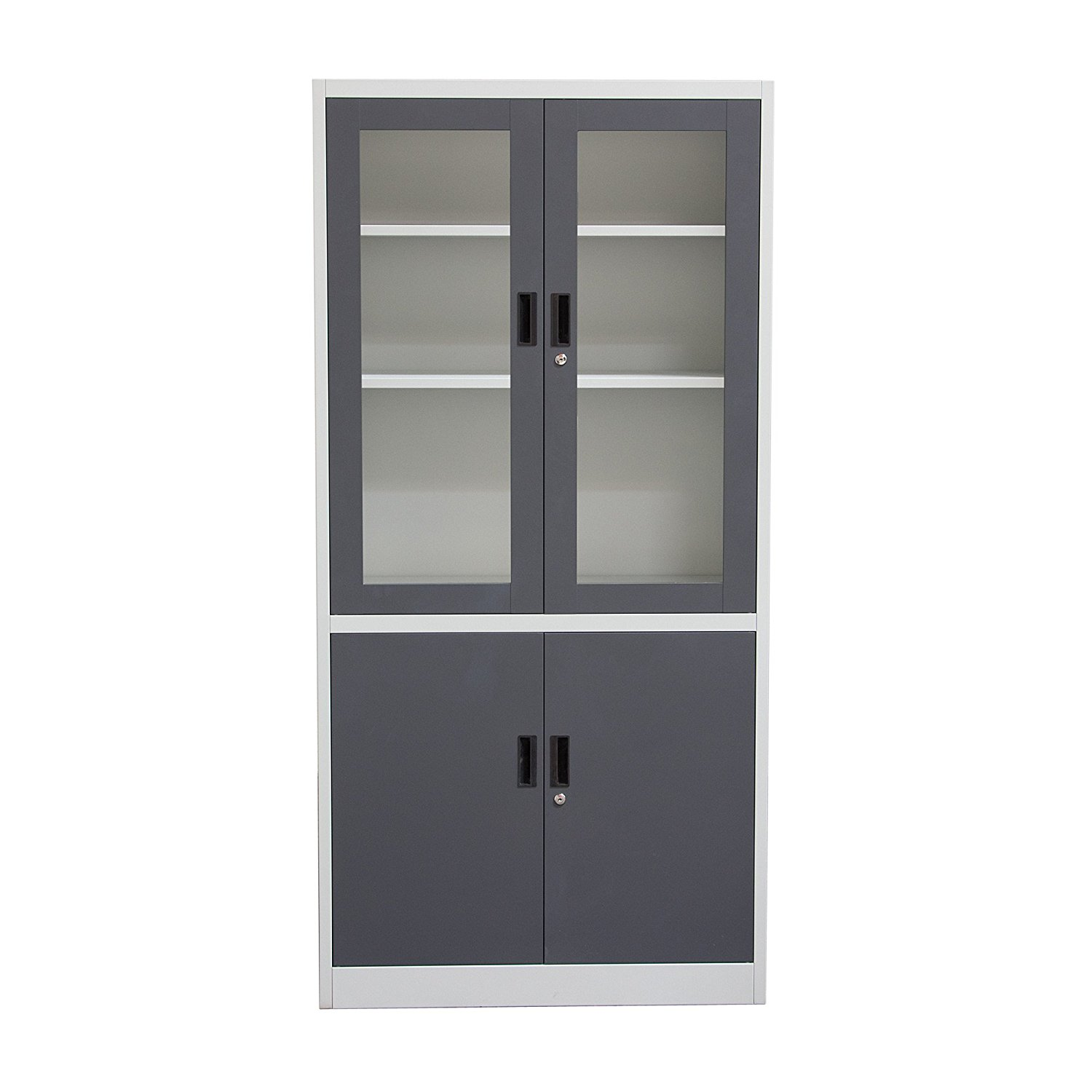 Get Quotations · 4 Door 5 Shelf Bookcase With Tempered Glass Door Front U0026  Key Lock Entry