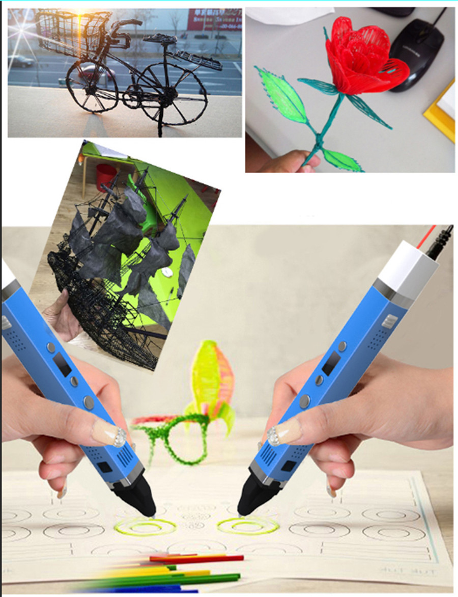 2017 3D Printer Pen new model V2 easy to handle high quality 3D pen 3 D printer pen with abs/pla filament