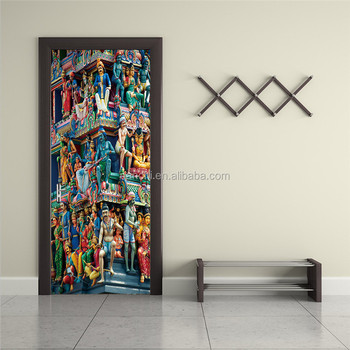 3D Mandir Door Wall Decals Living Room Bedroom Home Decorative Cheap Wall  Sticker Waterproof Removable Murals
