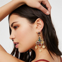 KM Europe and America Retro Jewelry Exaggerated Long Dangle Cross Coin Alloy Hollow Jhumka Earrings Boho Earrings Women Fashion