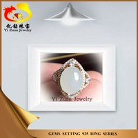 Exquisite woman 925 rose silver natural white topaz setting Hetian jade ring