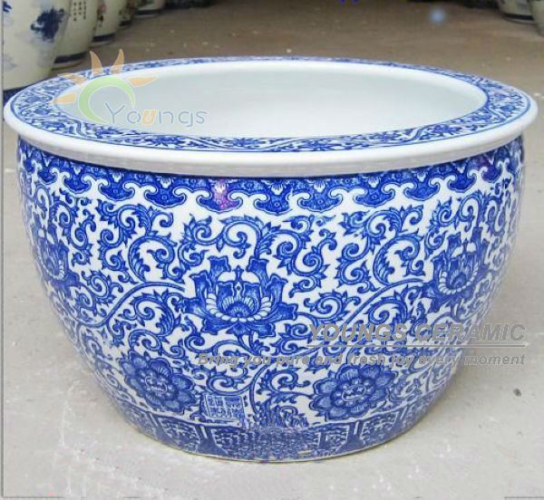 Big Size Chinese Blue And White Ceramic Tree Planters Pots For