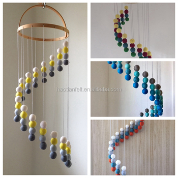 felt ball mobile baby mobile ,nursery decoration,spiral pattern