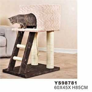 PetStar latest Factory Supplier Oem Customized Plush Fur Scratching Post Cheap Toy Pet House Cat Tree