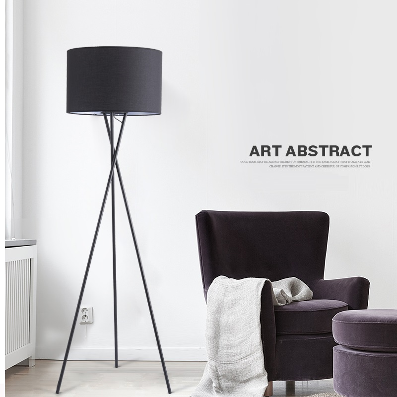 Factory price modern iron pole tripod floor standing lamp with linen shade