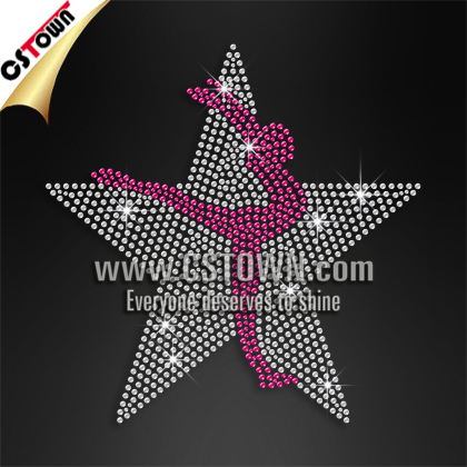 Wholesale rhinestud hot fix fabric star dance heat transfers motifs