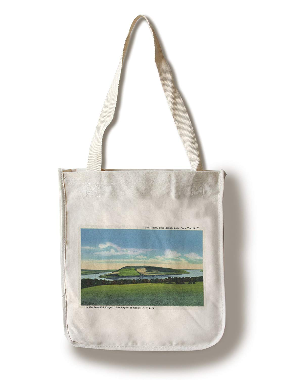 Lake Keuka, New York - View of Bluff Point near Penn Yan (100% Cotton Tote Bag - Reusable, Gussets, Made in America)