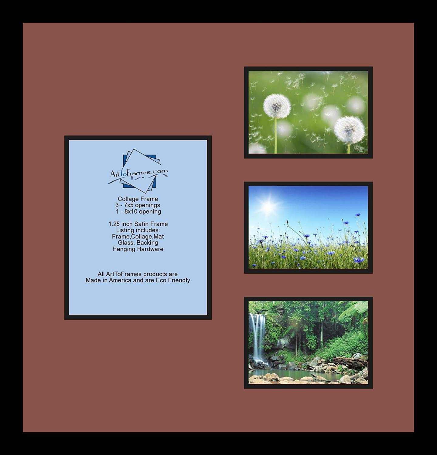 Art to Frames Double-Multimat-150-760/89-FRBW26079 Collage Photo Frame Double Mat with 1-8x10 and 3-5x7 Openings and Satin Black Frame