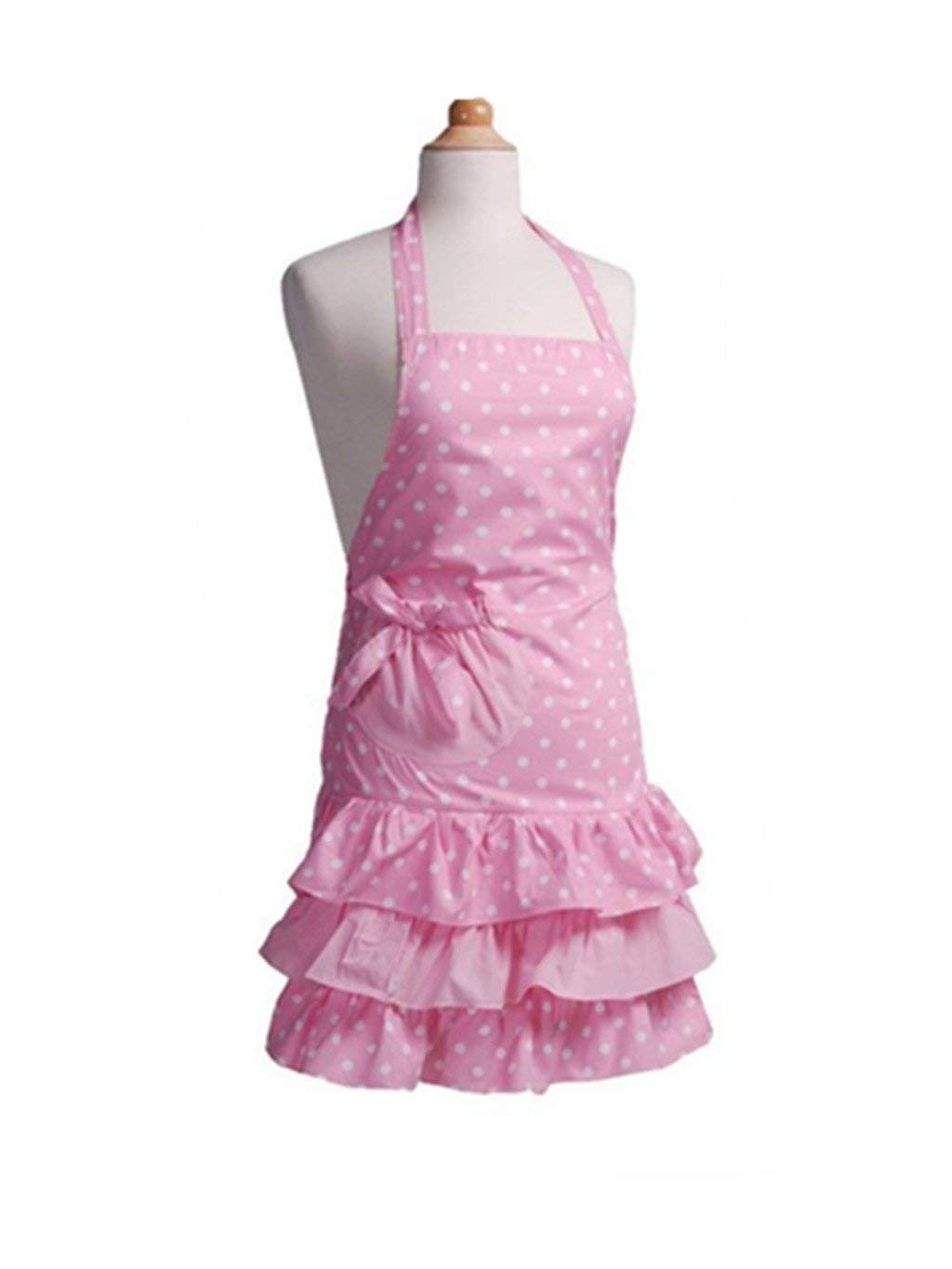 Payviva 100% Cotton Fabric Material Three Tiered Ruffles With a Big Bow on the Pocket Kitchen kids Apron Pink Dots Color (Child)