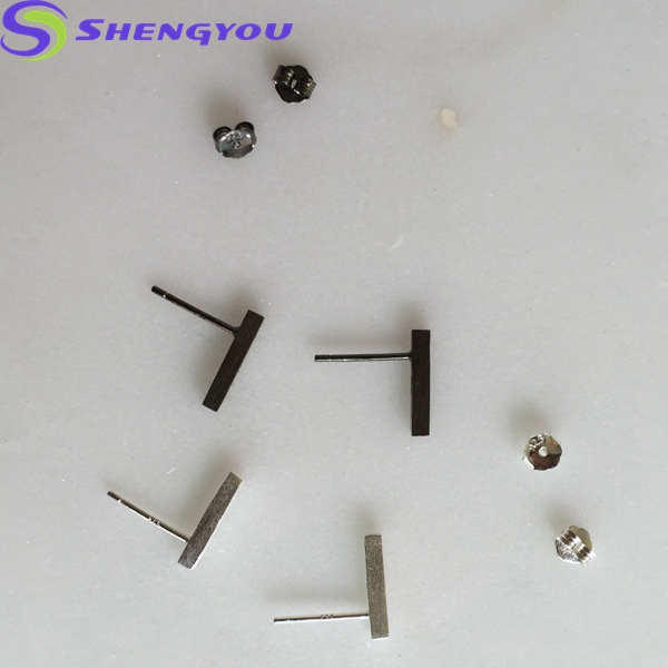 New Sterling Silver Jewelry Design 12 MM length 2 MM Width T Shape Simple Stud Earring With Two Colors