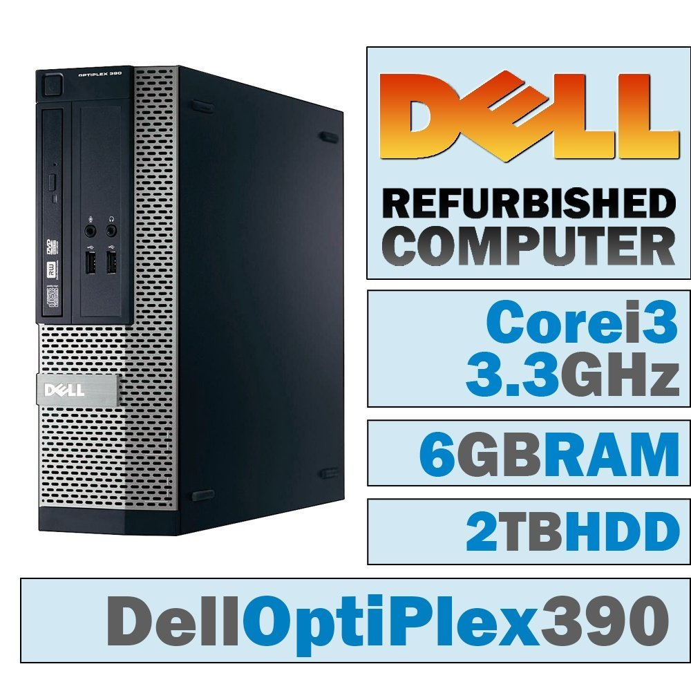 Dell OptiPlex 390 SFF/Core i3-2120 @ 3.3 GHz/6GB DDR3/2TB HDD/DVD-RW/WINDOWS 10 HOME 64 BIT