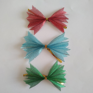 Christmas decoration ribbon bow tie with wire twist tie