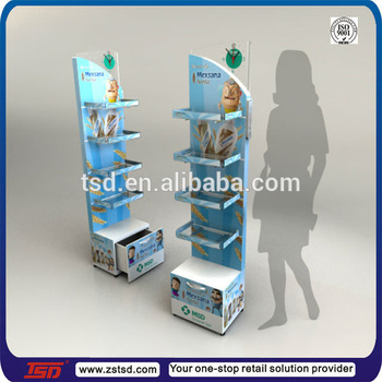 Tsd W761 Promotion Wooden Mdf Display Stand For Floor Acryl Tray
