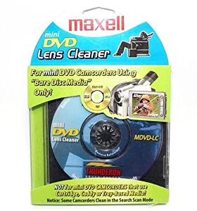 MAXELL MINI DVD CD DISC LENS CLEANER FOR CAMCORDERS W/ BARE DISC MEDIA THUNDERON