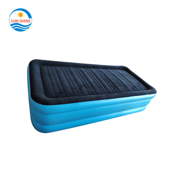 PVC flocked inflatable folding travel air bed,camping air mattress