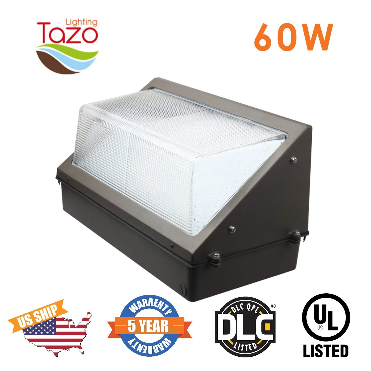 TAZO LIGHTING 60W LED Wall Pack Light, 2700-7000K LED Security Lighting Fixture, 4800-5400 Lumens(200-300W MH/HPS Equivalent), IP65 Outdoor Industrial and Commercial Aare Lighting (UL-Listed)