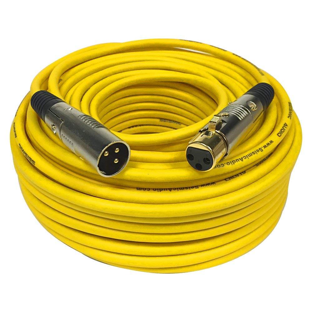 Seismic Audio SAPGX-100Yellow Premium 100' XLR Microphone Cable Cord - 3 Pin XLRF to XLRM Mic Cord, Yellow