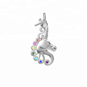 rainbow cz kids Unicorn charm jewelry pearl mounting pendant 925 sterling silver necklace moti pearl for bracelet diy