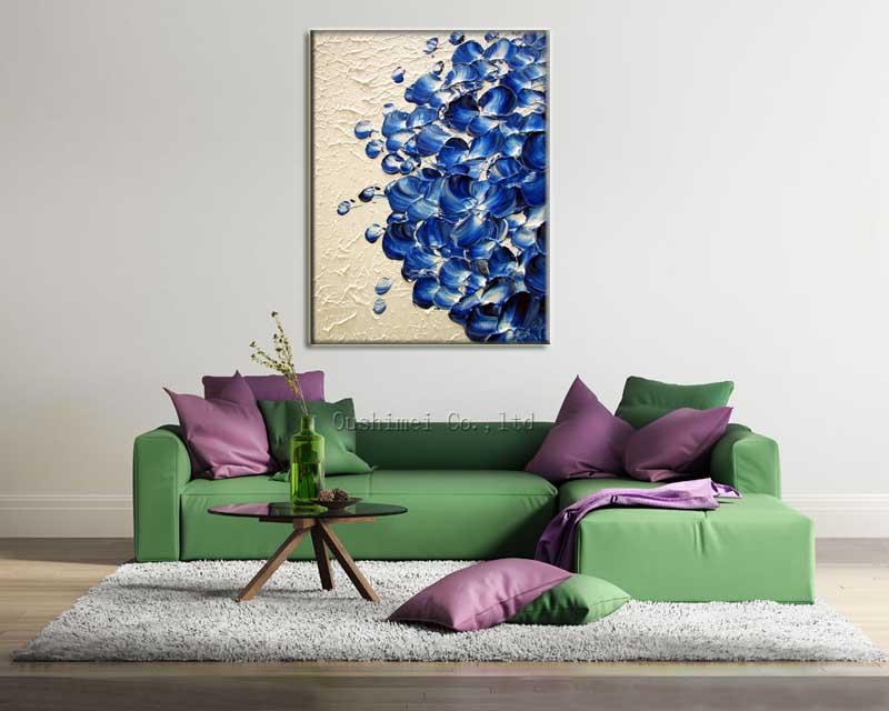 Abstrak Yang Indah Elegan Perhiasan Kelopak Biru Pisau Lukisan Ruang Tamu Minyak Di Kanvas