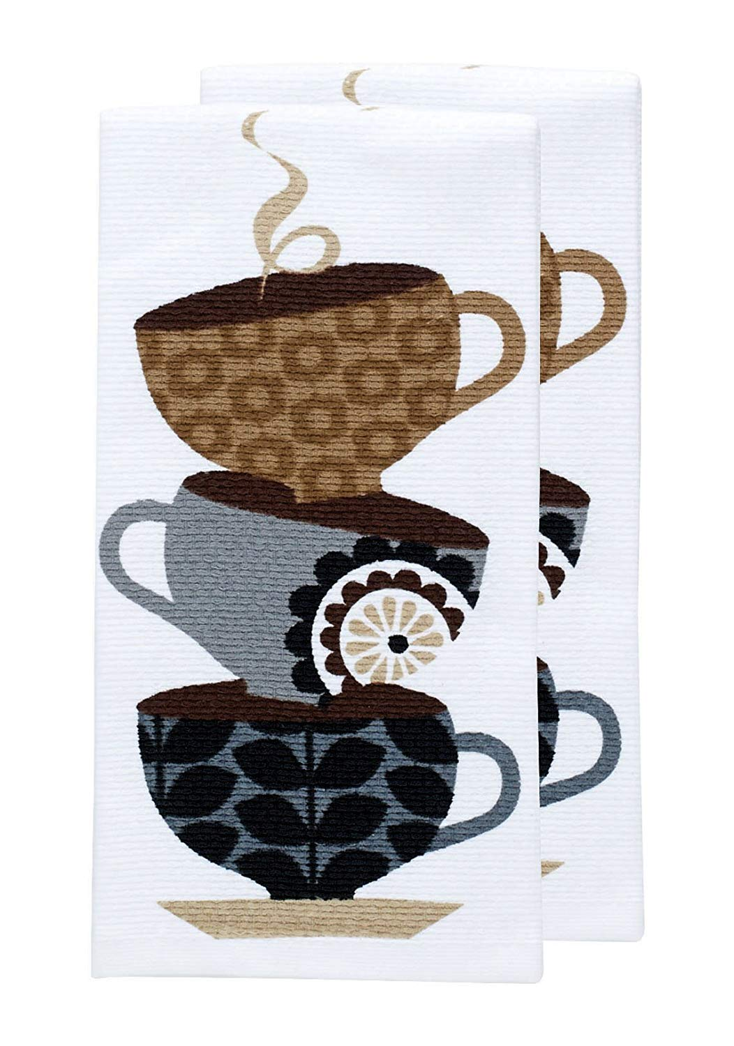 "T-fal Textiles Double Sided Print Woven Cotton Kitchen Dish Towel Set, 2-pack, 16"" x 26"", Coffee Cup Print"
