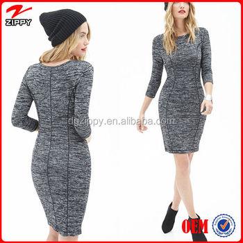 2d2b7e7784cf 2016 Sophisticated 3 4 sleeves knit sweater dress ladies winter dress