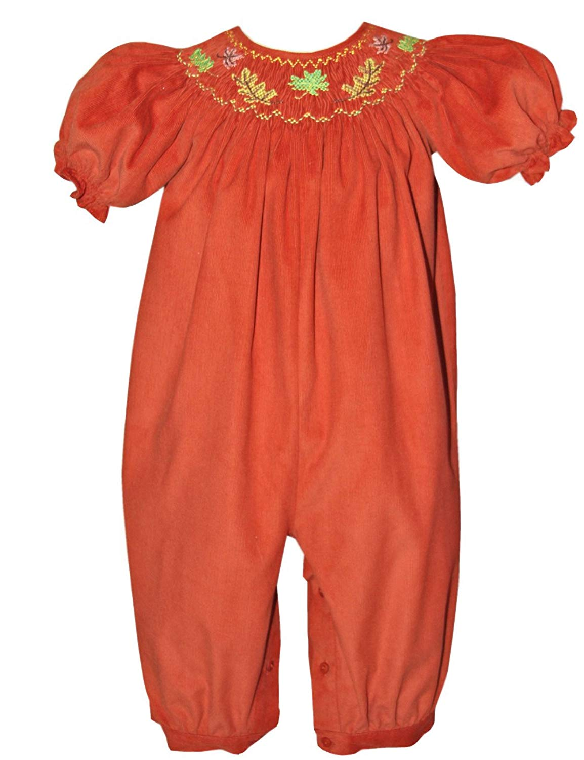 56af7d73b Get Quotations · Carouselwear Smocked Fall Leaves Baby Girls Long Bubble  Thanksgiving Harvest