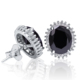 POLIVA UK Style Personalized Jewelry 925 Sterling Silver Black Rhinestone Crystal Tension Back Stud Earrings
