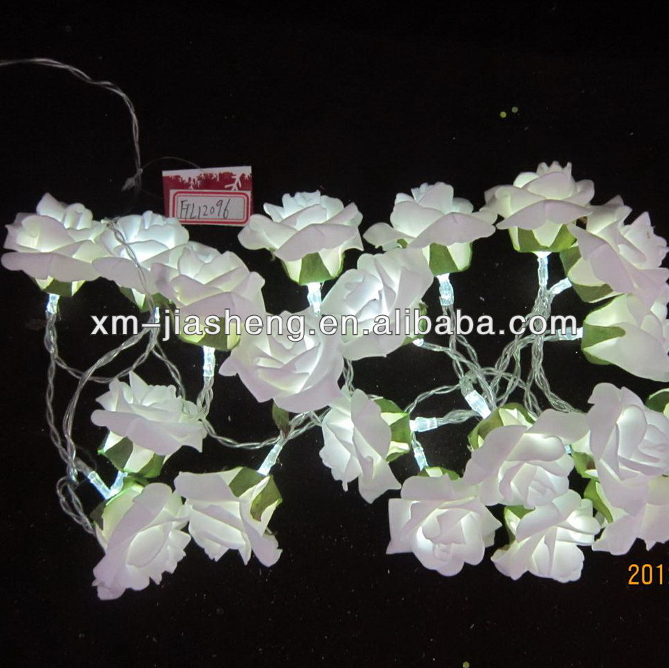 Environmental-friendly PE rose flower battery operated led string fairy garland light chain for decoration,room,hotel,party