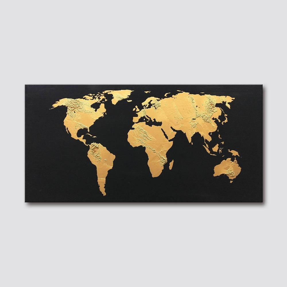 Gold World Map Wall Art.Handmade Modern Abstract Gold World Map Office Wall Decor Canvas Art